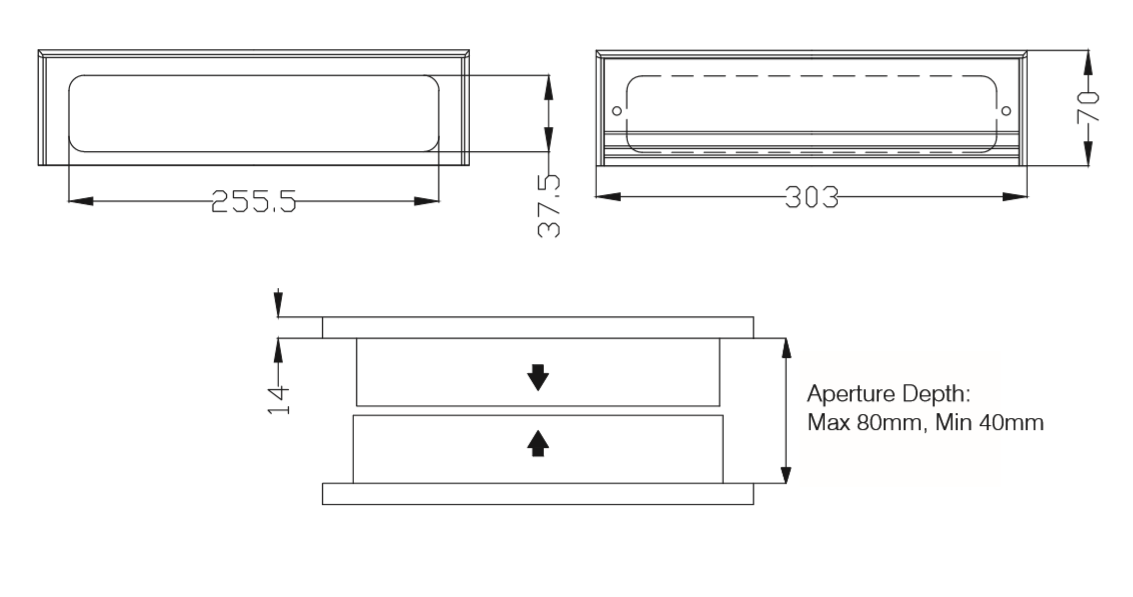 12 Inch Letterbox Technical Drawings