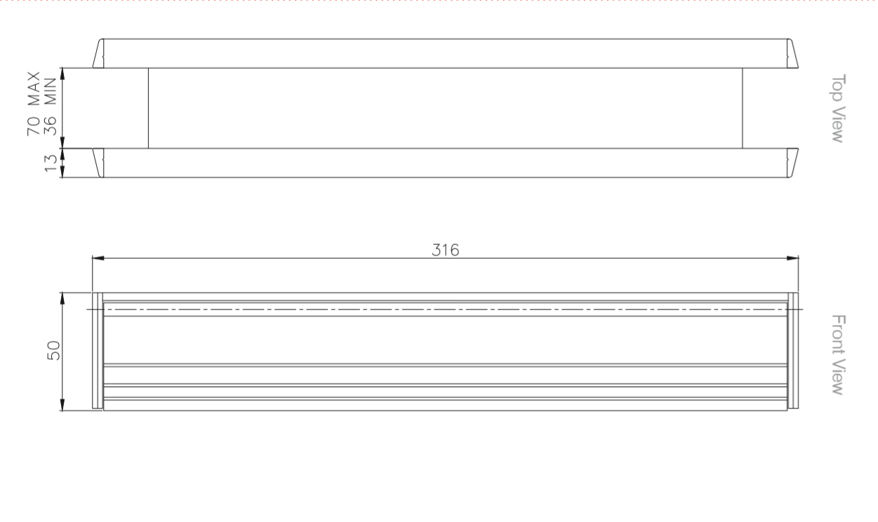 12 Inch Slim Letterbox Technical Drawings
