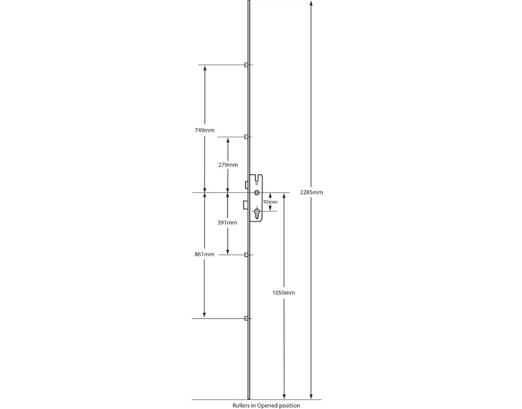 Gu 45 92 4 rollers lock door system measurements