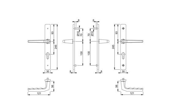 Hoppe lever handle mesurement Frankfurt