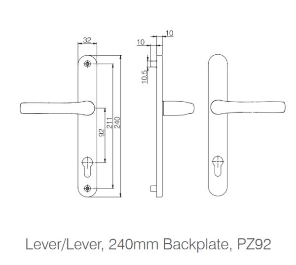 Mila Pro-Linea door Lever Handle 240mm