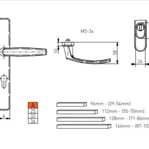 door handle Victory sizes