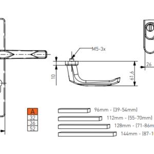 sizes SATURN door handle